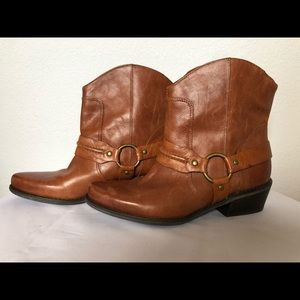 Tan leather cowboy booties